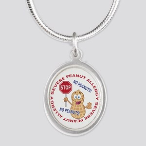 Severe Peanut Allergy Silver Oval Necklace