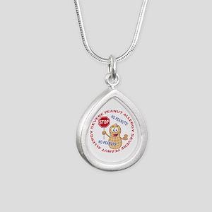 Severe Peanut Allergy Silver Teardrop Necklace