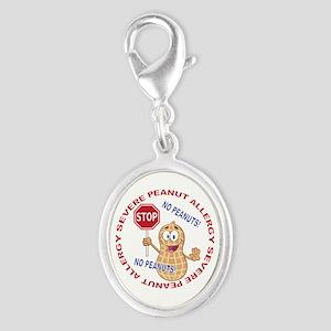 Severe Peanut Allergy Silver Oval Charm