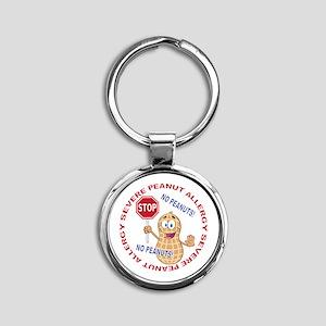 Severe Peanut Allergy Round Keychain