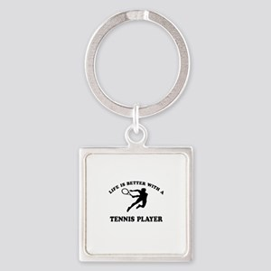 Tennis Player Designs Square Keychain