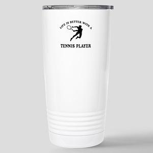 Tennis Player Designs Stainless Steel Travel Mug