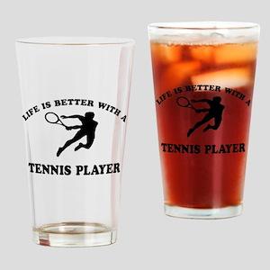 Tennis Player Designs Drinking Glass