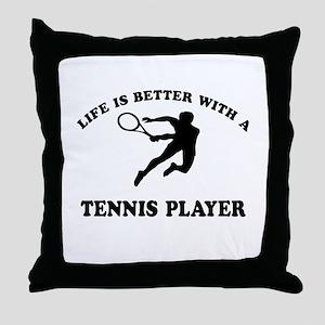 Tennis Player Designs Throw Pillow