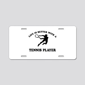 Tennis Player Designs Aluminum License Plate