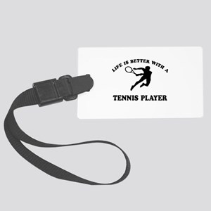 Tennis Player Designs Large Luggage Tag