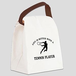Tennis Player Designs Canvas Lunch Bag