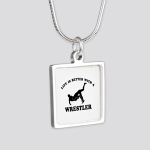 Wrestler Designs Silver Square Necklace
