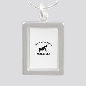 Wrestler Designs Silver Portrait Necklace