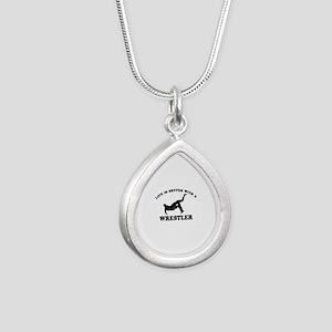Wrestler Designs Silver Teardrop Necklace