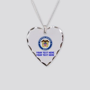 US Navy Sign Personalized Necklace Heart Charm