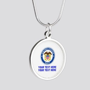 US Navy Sign Personalized Silver Round Necklace