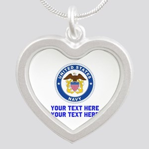 US Navy Sign Personalized Silver Heart Necklace