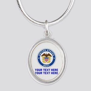US Navy Sign Personalized Silver Oval Necklace
