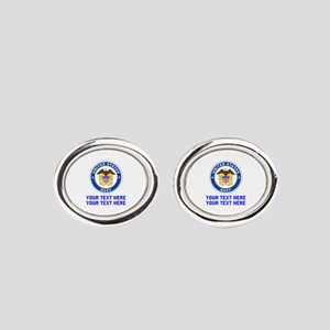 US Navy Sign Personalized Oval Cufflinks