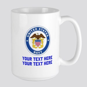 US Navy Sign Personalized 15 oz Ceramic Large Mug