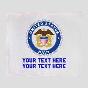 US Navy Sign Personalized Throw Blanket