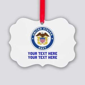 US Navy Sign Personalized Picture Ornament