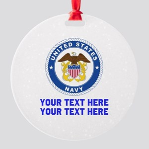 US Navy Sign Personalized Round Ornament