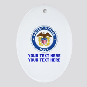 US Navy Sign Personalized Oval Ornament