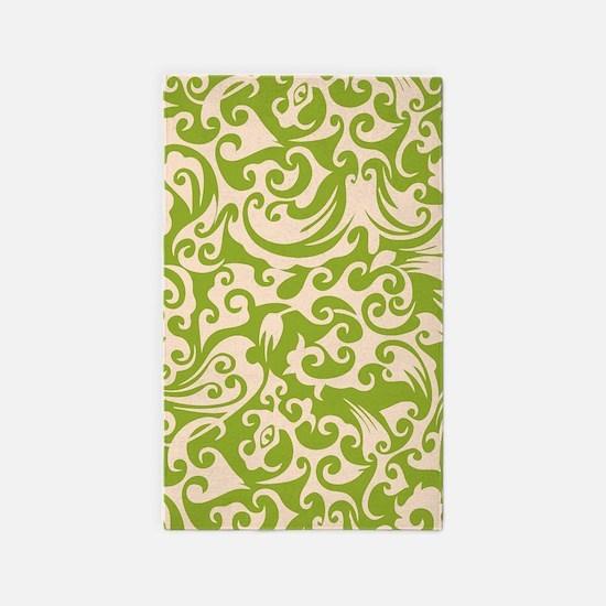 Pistachio & Linen Swirls 3'x5' Area Rug
