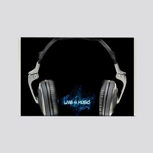Live for Music Headphones Rectangle Magnet