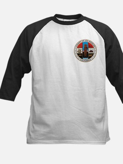 LA County Seal with Cross Kids Baseball Jersey