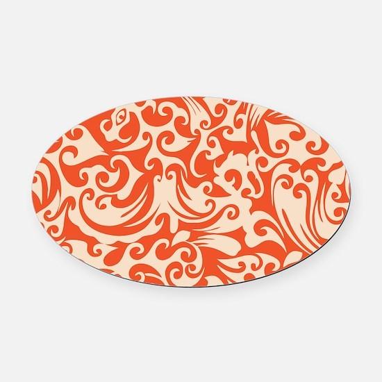 Tangerine & Linen Swirls Oval Car Magnet
