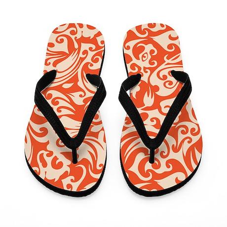 Tangerine & Linen Swirls Flip Flops