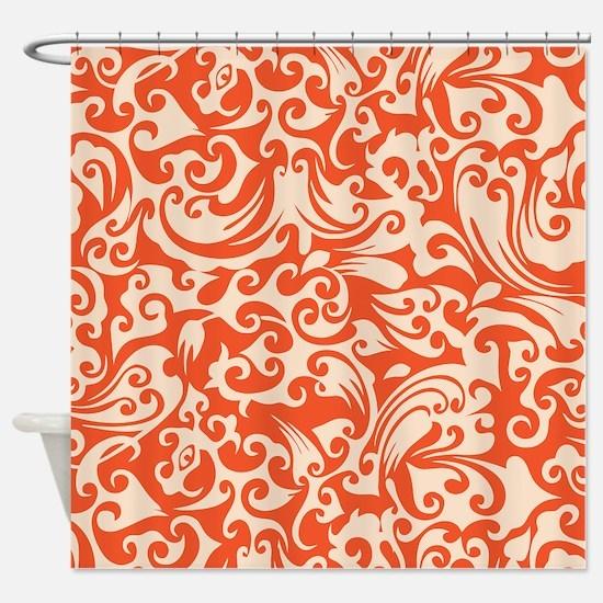 Tangerine & Linen Swirls Shower Curtain