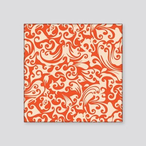 "Tangerine & Linen Swirls Square Sticker 3"" x 3"""