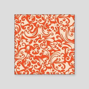 """Tangerine & Linen Swirls Square Sticker 3"""" x 3"""""""