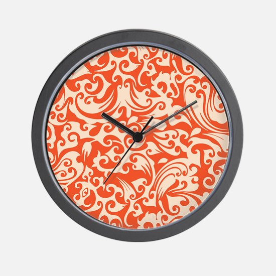 Tangerine & Linen Swirls Wall Clock