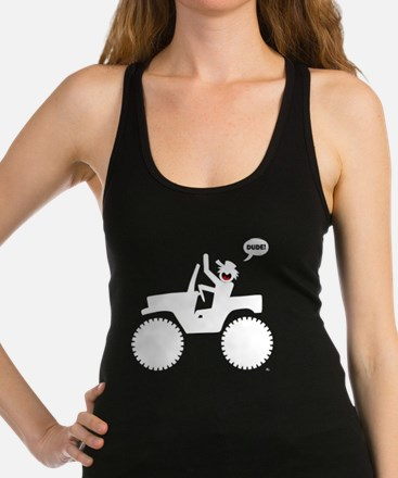 Jeeping DUDE white Image Racerback Tank Top
