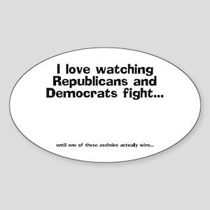 Republicans and Democrats Oval Sticker