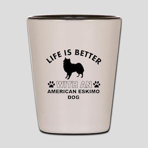 American Eskimo vector designs Shot Glass
