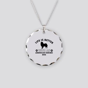 American Eskimo vector designs Necklace Circle Cha