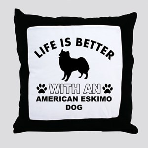 American Eskimo vector designs Throw Pillow
