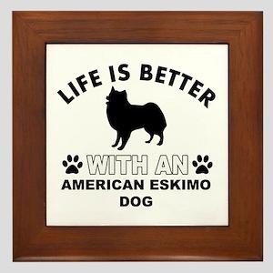 American Eskimo vector designs Framed Tile