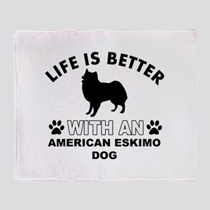 American Eskimo vector designs Throw Blanket
