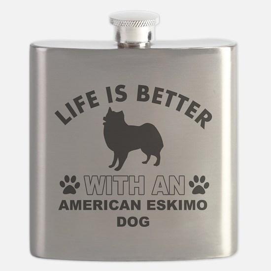 American Eskimo vector designs Flask