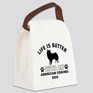 American Eskimo vector designs Canvas Lunch Bag