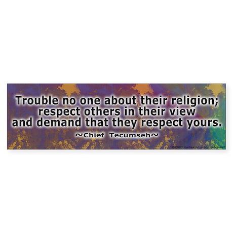 Tecumseh's Wisdom Bumper Sticker