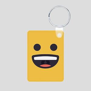 Happy Emoji Face Aluminum Photo Keychain