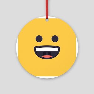 Happy Emoji Face Round Ornament