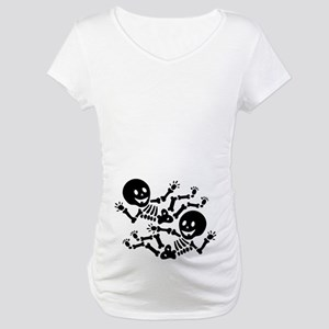 halloween twin skeletons maternity t shirt