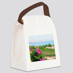 Beach Roses and Lighthouse Canvas Lunch Bag