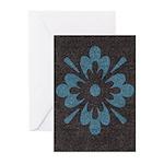 Blue floral Berber print Greeting Cards (Pk of 10)