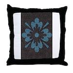 Blue floral Berber print Throw Pillow