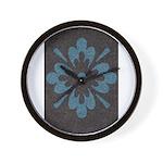 Blue floral Berber print Wall Clock